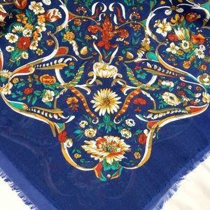 Vintage Large Square Scarf Blue Floral Fringe Head